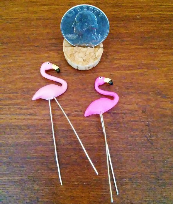 Miniature 1:12 Scale Pink Yard Flamingos for Dollhouse or Fairy Garden