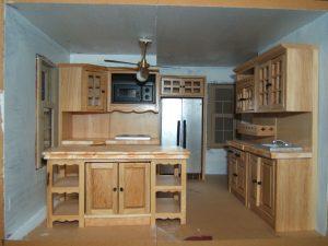 Dollhouse oak kitchen set