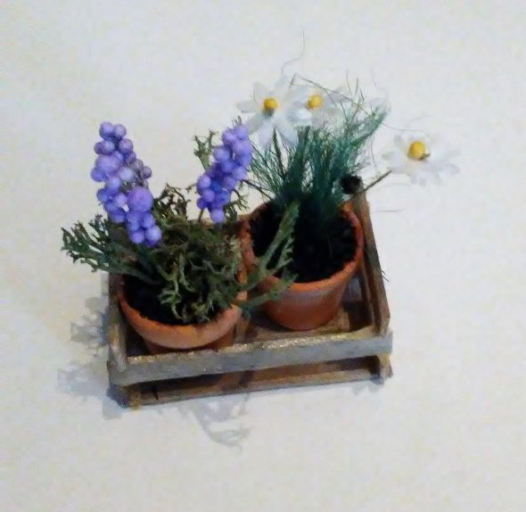 Miniature Dollhouse Potted Herb Plants in Wooden Crate Tutorial